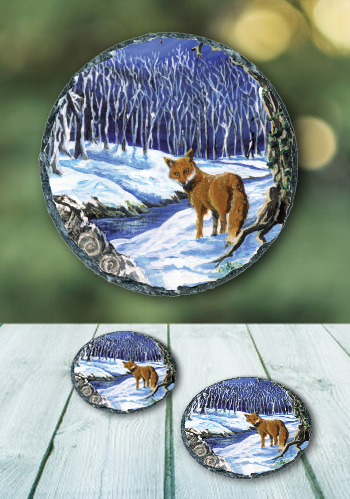 The Fox - slate coaster