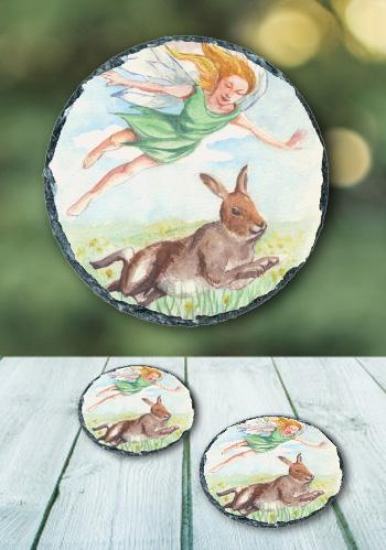 The Hare - slate coaster