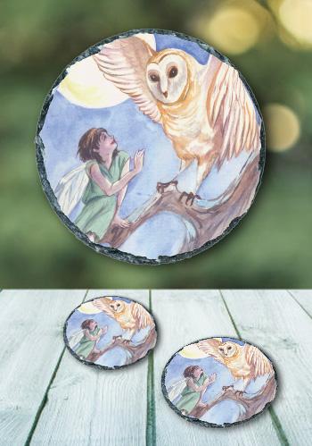 The Owl - slate coaster