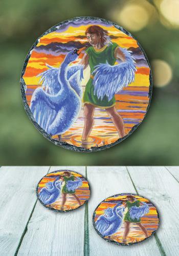The Swan - slate coaster