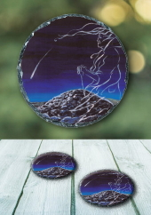 The Cailleach and the Comet - slate coaster
