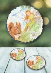 The Squirrel - slate coaster