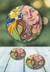 The Cailleach of the ages - slate coaster