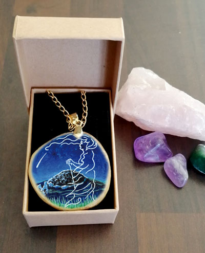 The Cailleach and the Comet - decoupage pendant