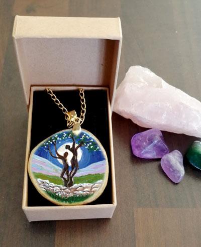 The Fairy Tree - decoupage pendant