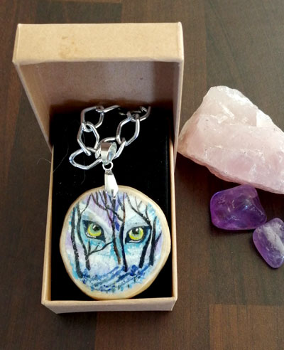 Animal Lore - hand painted pendant