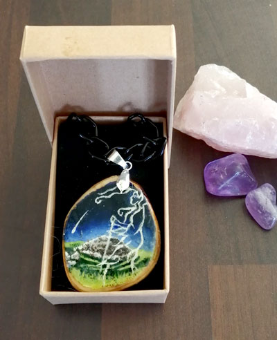 The Cailleach and the Comet - hand painted pendant