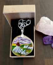 The Cailleach of the elements - hand painted pendant