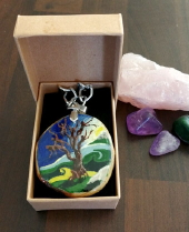The Fairy Tree - hand painted pendant