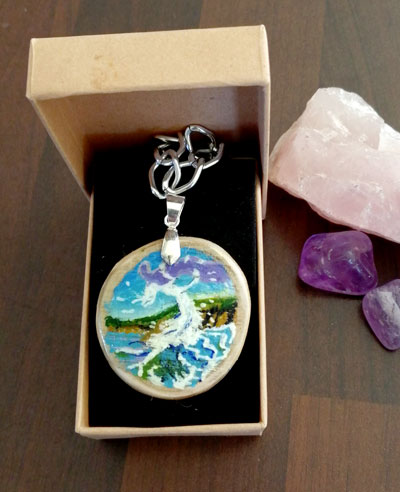 Cliodhna's Wave - hand painted pendant