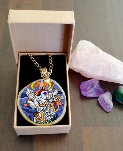 The Children of Lir - decoupage pendant