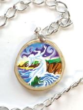 Cliodhna's Wave - decoupage pendant