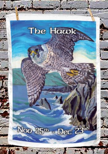 The Hawk - tea towel